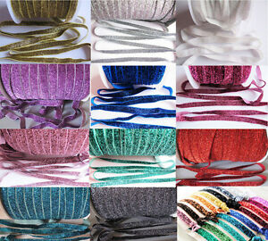 """3/8"""" (1cm) 5/8"""" (1.5cm) Glitter Velvet Shimmery Hair Elastic Gift Ribbon"""