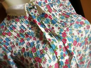 sz 8 Girls true Vtg 70s Bow Age Pink/Blue Floral Print Acrylic Thin MOD Dress