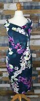 Tu Blue Floral Sleeveless Pencil Dress Size UK 14 NEW