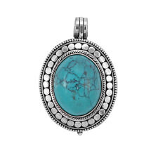 Vintage PHOTO LOCKET TURQUOISE BOX Pendant in 925 Sterling Silver - 35 mm  #N28