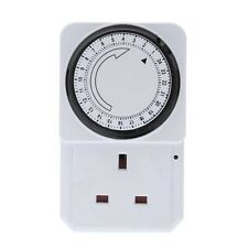 24 HOUR Mains Plug In Timer with LED Indicator for Lamps and Lights UK 3 Pin