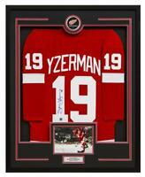 Steve Yzerman Detroit Red Wings Signed Retro Style 36x44 Framed Hockey Jersey