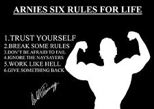 ARNOLD SCHWARZENEGGER 6 RULES OF LIFE INSPIRATIONAL A4 260GSM POSTER / PRINT