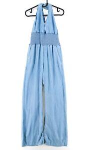 GUESS Blue Denim Wide Leg Halter Neck Sleeveless Jumpsuit Size 29