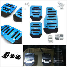 3 Pcs Blue Non-slip Car Auto Aluminium Alloy Foot Treadle Pedal Cover With Drill