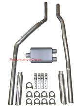 83-01 Chevrolet GMC S10 S15 Mandrel Bent Dual Exhaust w/ Two Chamber Muffler