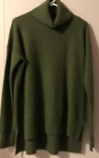 Saks Fifth Avenue 100% Cashmere Hi/Lo Turtleneck Sweater S/M Olive MSRP $189 NWT