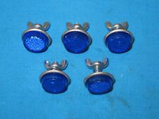 """License Plate 1"""" Blue Reflectors with Metal Back and Wing Nut - Set of 5 - New"""