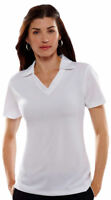UltraClub Women's Dry V Neck Collar Short Sleeve Polyester Polo Shirt. 8320L
