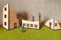 3 x 28 mm scale Ruined buildings Laser cut MDF - Bolt action Warhammer etc