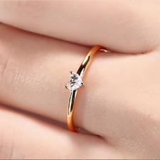 Minimalist Heart Cut White Sapphire Thin Ring Chic Yellow Gold Wedding Jewelry