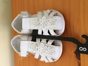 NWT Wonder Nation Black Toddler Girl Flower Sandle Shoes White many sizes