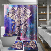 US 4Pcs Elephant Non-Slip Rug Toilet Lid Seat Cover Bath Mat Shower Curtain Set