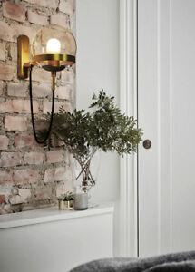 Nordic Globe Glass Wall Sconce E27 Light Antique Brass/ Black Finish Wall Lamp
