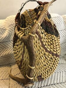 """IVintage Native American Indian Hand Woven Large Leather Basket About 17""""x15""""x8"""""""
