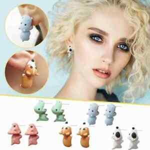 3D Women Cute Animal Dinosaur Whale Ear Stud  Bite Earring Set Party Jewelry