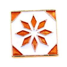 Gold tone enamel flower square brooch / pin / badge