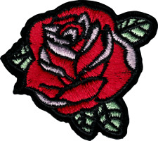22171 Red Rose Flower Plant Romance Love Cut Out Embroidered Sew Iron On Patch