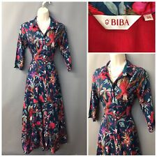 Biba Navy Floral Buttoned Retro Dress UK 6 EUR 34