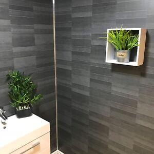 Carbon Modern Tile Effect Bathroom Wall Panels Kitchen Cladding Shower Wall PVC