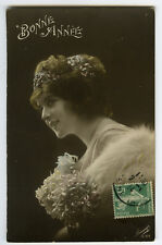 1910s French Glamour PRETTY YOUNG LADY glamor photo postcard