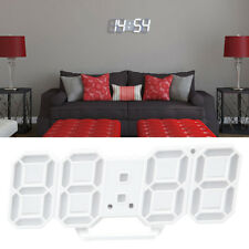 Digital 3D LED Wall/Desk Clock Snooze Alarm Big Digits Auto Brightness USB Light