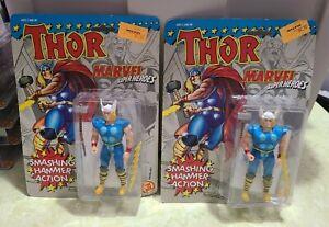 2 x 1991 ToyBiz Marvel Super Heroes Thor Action Figure Sealed New in Box