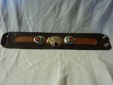 Bear & Claw Coral Bracelet  Genuine Buffalo & Elk Leather Navajo Sterling