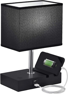"""'Touch Control USB Table Lamp w/ Phone Stand 10"""" Stepless Dimmable Nightstand"""