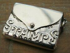 Victorian Style Hallmarked Sterling Silver Embossed Envelope Stamp Case Holder