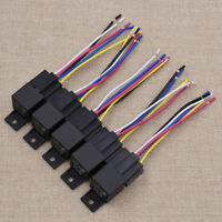 5Pcs DC 12V Car SPDT Automotive Relay 5Pin 30/40 Amp Harness Socket Black Auto