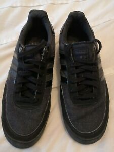 Adidas all black denim type Lightweight Three Stripe Men's Trainers Size UK9