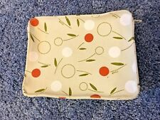 "Make up Bag Floral Tan White Orange Green 5.5x7x2"" Roomy Zip/Pull Closure Canvas"