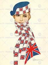 Drapeau britannique art deco glamour carte postale union jack art print poster BB8377