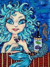 mermaid wine fantasy mythology  art print impressionism 8x10 gift artist