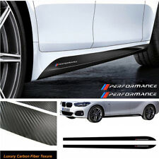 2.15M Carbon Fiber Pattern Side Skirt Stickers Graphic Vinyl Waterproof For BMW