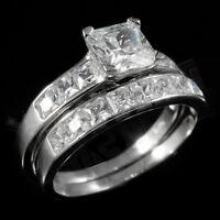 .925 Sterling Silver 18k White Gold Wedding Princess Cut CZ Women's Ring Set