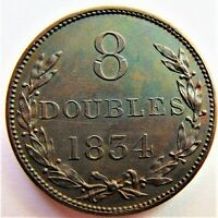 1834 GUERNSEY 8 Doubles, proof like fields grading Choice UNCIRCULATED.