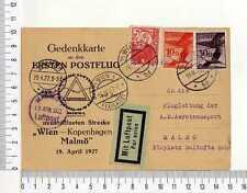 15051) AUSTRIA 19.4.27 1st Flight Wien Kopenhagen Malmoe