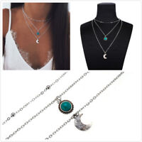 3Layer Silver Plated Beads Moon Stone Round Pendant Necklace Choker Jewelry Gift