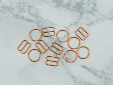 """3 Sets 3/8"""" Rose Gold Copper Metal Rings and Sliders Bra Making"""