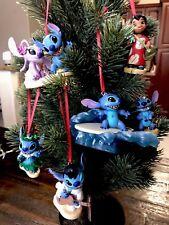 Disney Christmas Ornament 6pc Lilo & Stitch PVC Sparkly!