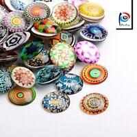 10 Glas Cabochon Mosaik Mix Set 20mm und für Fassung Bunte Glaskuppel R344
