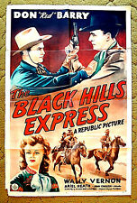 "old west shootout -- DON 'RED' BARRY 1943 poster 27x41 -- ""BLACK HILLS EXPRESS"""