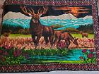 Vtg 70s Tapestry Elk Deer Meadow Velvet Wall Hanging Made In Turkey 54x38