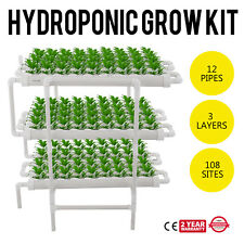 12 Pipes 3 Layers 108 Plant Sites Hydroponic Grow Kit System Culture Drain-Lever