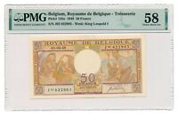 BELGIUM banknote 50 Francs 1950 PMG AU 58 Choice About Uncirculated