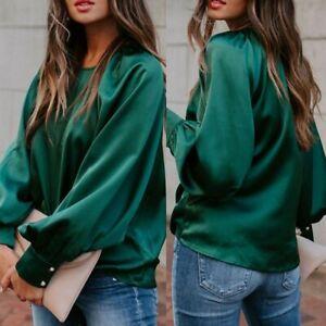 Womens Lady Langärmelig Satin T-Shirt Freizeit Lockere Bluse Top Pullover