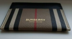 Burberry Card Case Icon Stripe Leather Checkered Beige New 100%Authentic RRP200$