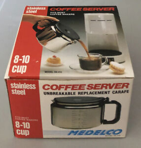 Vintage 1991 MEDELCO SS-410 Stainless Steel Coffee Server One All 8-10 Cup NEW